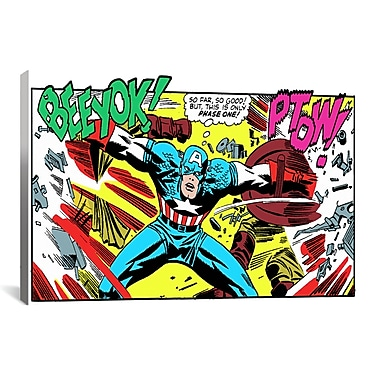 iCanvas Marvel Comics Book Captain America Graphic Art on Wrapped Canvas; 26'' H x 18'' W x 0.75'' D