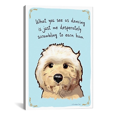 iCanvas Tiny Confessions Dancing Goldendoodle by Christopher Rozzi Painting Print on Wrapped Canvas