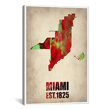 iCanvas Miami Watercolor Map by Naxart Graphic Art on Wrapped Canvas; 26'' H x 18'' W x 0.75'' D