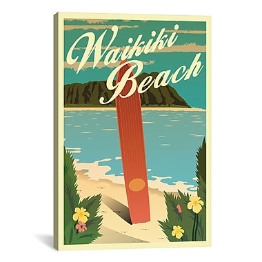iCanvas American Flat Waikiki Beach Graphic Art on Wrapped Canvas; 61'' H x 41'' W x 1.5'' D