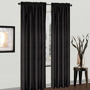 United Curtain Co. Cyndee Rod Pocket Single Curtain Panel; Black