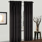 United Curtain Co. Cyndee Rod Pocket Single Curtain Panel; Black