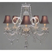 Harrison Lane Royal 5 Light Crystal Chandelier; Pink