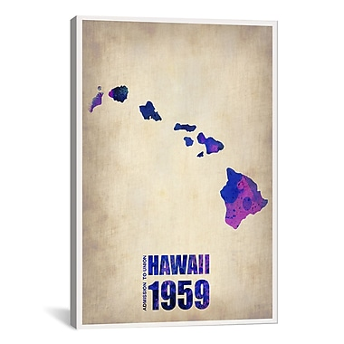 iCanvas Hawaii Watercolor Map by Naxart Graphic Art on Wrapped Canvas; 18'' H x 12'' W x 0.75'' D