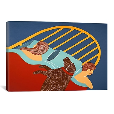iCanvas Hogging the Bed Chocolate by Stephen Huneck Painting Print on Wrapped Canvas