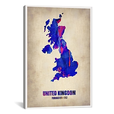 iCanvas United Kingdom Watercolor Map by Naxart Graphic Art on Wrapped Canvas