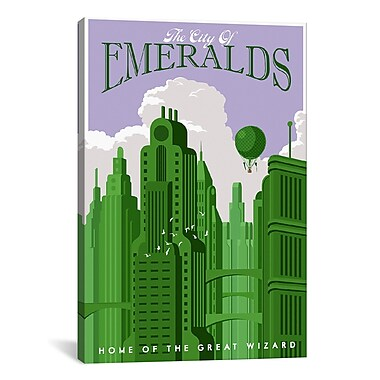 iCanvas Emerald City Travel by Steve Thomas Graphic Art on Wrapped Canvas; 41'' H x 27'' W x 1.5'' D