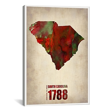 iCanvas South Carolina Watercolor Map by Naxart Graphic Art on Wrapped Canvas