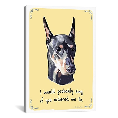 iCanvas Tiny Confessions Singing Doberman by Christopher Rozzi Painting Print on Wrapped Canvas