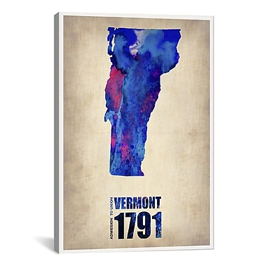 iCanvas Vermont Watercolor Map by Naxart Graphic Art on Wrapped Canvas; 61'' H x 41'' W x 1.5'' D