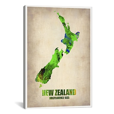 iCanvas New Zealand Watercolor Map by Naxart Graphic Art on Canvas; 26'' H x 18'' W x 0.75'' D