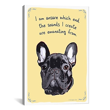 iCanvas Tiny Confessions Noisy French Bulldog by Christopher Rozzi Painting Print on Wrapped Canvas
