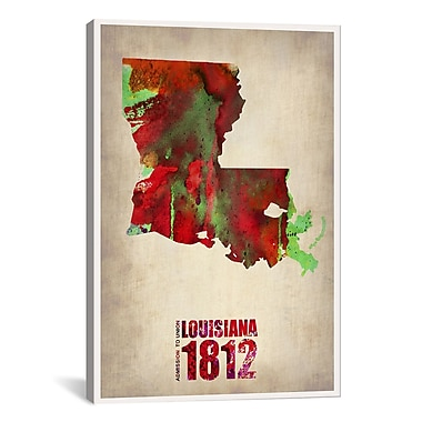 iCanvas Louisiana Watercolor Map by Naxart Graphic Art on Wrapped Canvas; 60'' H x 40'' W x 1.5'' D