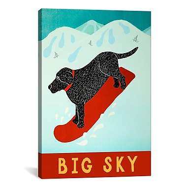 iCanvas Stephen Huneck Big Sky Snowboard Black Painting Print on Wrapped Canvas