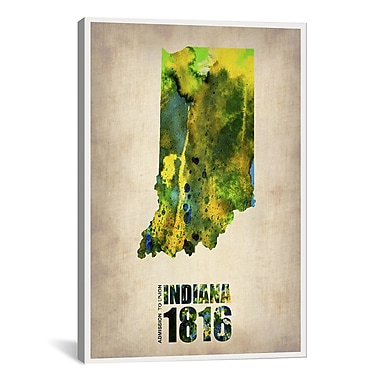 iCanvas Indiana Watercolor Map by Naxart Graphic Art on Wrapped Canvas; 18'' H x 12'' W x 0.75'' D