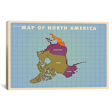 iCanvas Upside Down North America Graphic Art on Wrapped Canvas; 12'' H x 18'' W x 0.75'' D