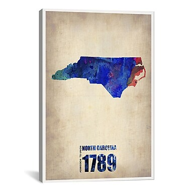 iCanvas North Carolina Watercolor Map by Naxart Graphic Art on Wrapped Canvas