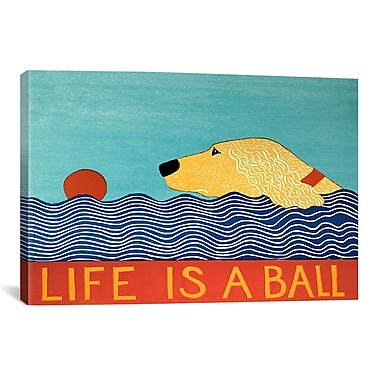 iCanvas Life Is a Ball Gold Golden by Stephen Huneck Painting Print on Wrapped Canvas