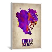 iCanvas Tokyo Watercolor Map II by Naxart Graphic Art on Canvas; 41'' H x 27'' W x 1.5'' D