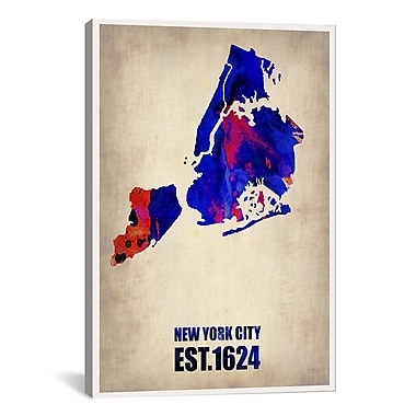 iCanvas New York City Watercolor Map I by Naxart Graphic Art on Wrapped Canvas