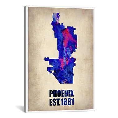 iCanvas Phoenix Watercolor Map Graphic Art on Wrapped Canvas; 61'' H x 41'' W x 1.5'' D