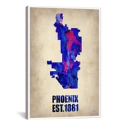iCanvas Phoenix Watercolor Map Graphic Art on Wrapped Canvas; 41'' H x 27'' W x 1.5'' D