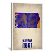 iCanvas Kansas Watercolor Map by Naxart Graphic Art on Wrapped Canvas; 40'' H x 26'' W x 0.75'' D