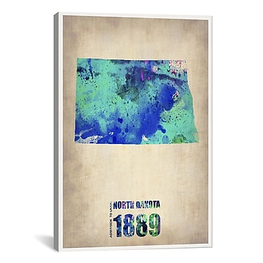 iCanvas North Dakota Watercolor Map by Naxart Graphic Art on Canvas; 26'' H x 18'' W x 0.75'' D