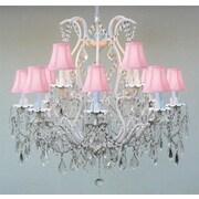 Harrison Lane Versailles 12 Light Crystal Chandelier; Pink