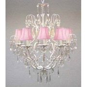 Harrison Lane Versailles 5 Light Crystal Chandelier; Pink