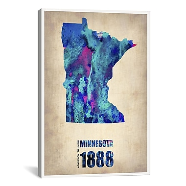iCanvas Naxart Minnesota Watercolor Map Graphic Art on Wrapped Canvas; 40'' H x 26'' W x 0.75'' D
