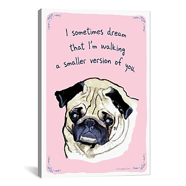iCanvas Tiny Confessions Pug Dreams by Christopher Rozzi Painting Print on Wrapped Canvas