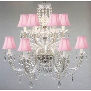 Harrison Lane 12 Light Crystal Chandelier; Pink