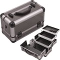 Hiker Professional Cosmetic Makeup Train Case; Gray