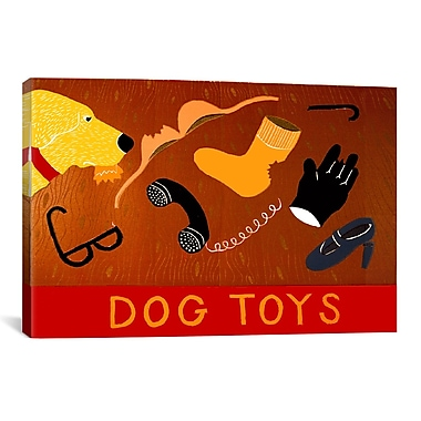 iCanvas Dog Toys Yellow by Stephen Huneck Graphic Art on Wrapped Canvas; 26'' H x 26'' W x 1.5'' D