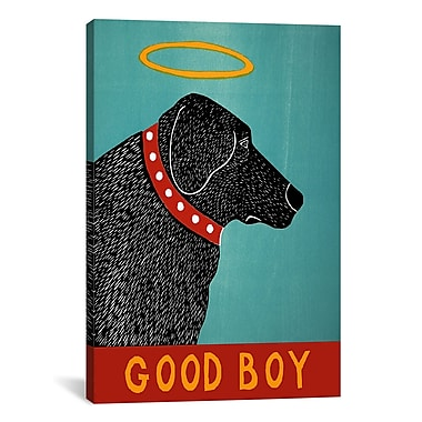 iCanvas Good Boy Black by Stephen Huneck Painting Print on Wrapped Canvas; 41'' H x 27'' W x 1.5'' D