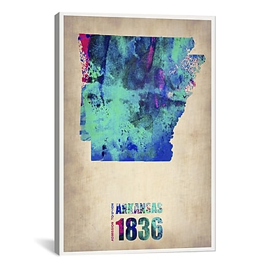 iCanvas Naxart Arkansas Watercolor Map by Naxart Graphic Art on Wrapped Canvas