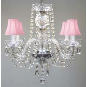 Harrison Lane 4 Light Crystal Chandelier; Pink