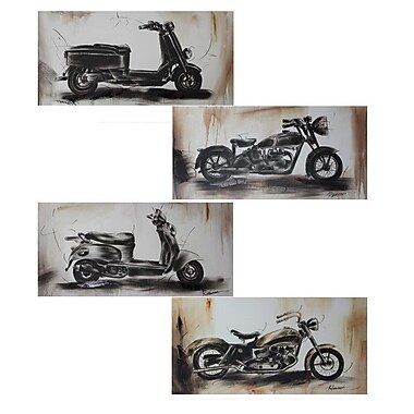 Entrada Motorbikes 4 Piece Pencil Drawing Painting Print Set