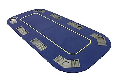 JP Commerce Texas Hold'em Folding Table Top w/ Cup Holders; Blue WYF078276909216