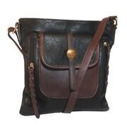 Zallzo™ 11 x 9 1/2 x 4 Camber Two-Tone Crossbody Bag, Black