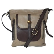 Zallzo™ 11 x 9 1/2 x 4 Camber Two-Tone Crossbody Bag, Stone