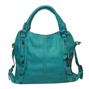 Michael Michelle 10 x 14 x 7 Lydia Buckled Shoulder Bag, Teal