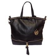 Michael Michelle 12 x 17 x 6 Bellucci East-West Zip Tote Bag, Black