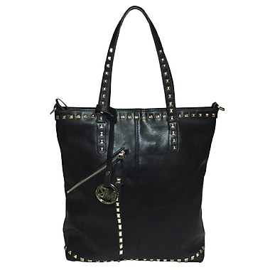 Michael Michelle 15in. x 13in. x 6in. in.Everdeenin. Tall Studded Tote Bag, Black