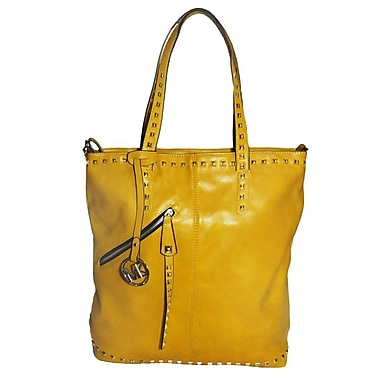 Michael Michelle 15in. x 13in. x 6in. in.Everdeenin. Tall Studded Tote Bag, Mustard