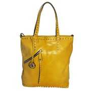 Michael Michelle 15 x 13 x 6 Everdeen Tall Studded Tote Bag, Mustard