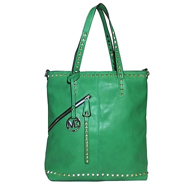 Michael Michelle 15in. x 13in. x 6in. in.Everdeenin. Tall Studded Tote Bag, Green
