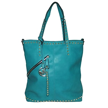 Michael Michelle 15in. x 13in. x 6in. in.Everdeenin. Tall Studded Tote Bag, Turquoise