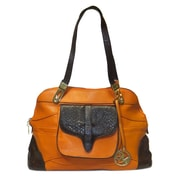 Michael Michelle 10 x 16 x 6 Haifa Two-Tone Satchel Bag, Rust